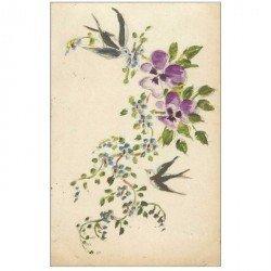 carte postale ancienne et Superbe. carte peinte à la main d'Hirondelles et Fleurs 1917