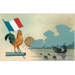 Superbe carte peinte à la main représentant le Coq français victorieux sur les Aigles teutons