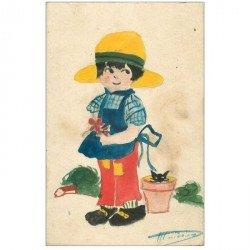 carte postale ancienne carte d'un jeune Jardinier peinte à la main sur papier à dessin. Signature inconnue
