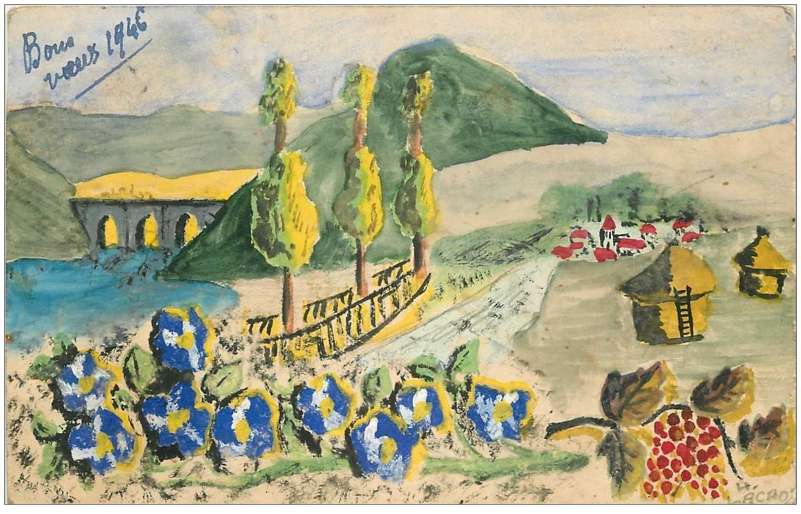 carte postale ancienne carte postale peinte à la main par un certain Lacroix gé de 15 ans 1946