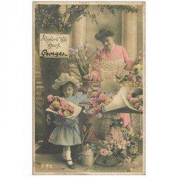 carte postale ancienne PRENOMS. Georges. Vendeuse de Fleurs