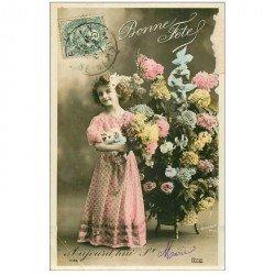 carte postale ancienne PRENOMS. Sainte Marie 1907. Entame plissure coin