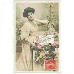 carte postale ancienne PRENOMS. Sainte Suzanne avec belle chevelure