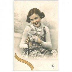 carte postale ancienne SAINTE CATHERINE. Carte à système avec ajoutis 1934