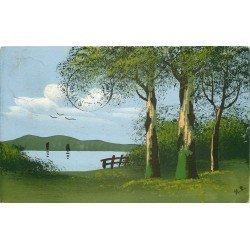 PAYSAGE SUR LAC. Carte peinte à la main par H.L en 1913 départ d'Ercheu à Nesle 80.