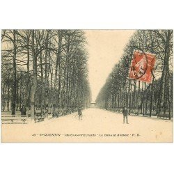 carte postale ancienne 02 SAINT-QUENTIN. Les Champs-Elysées la Grande Avenue 1913