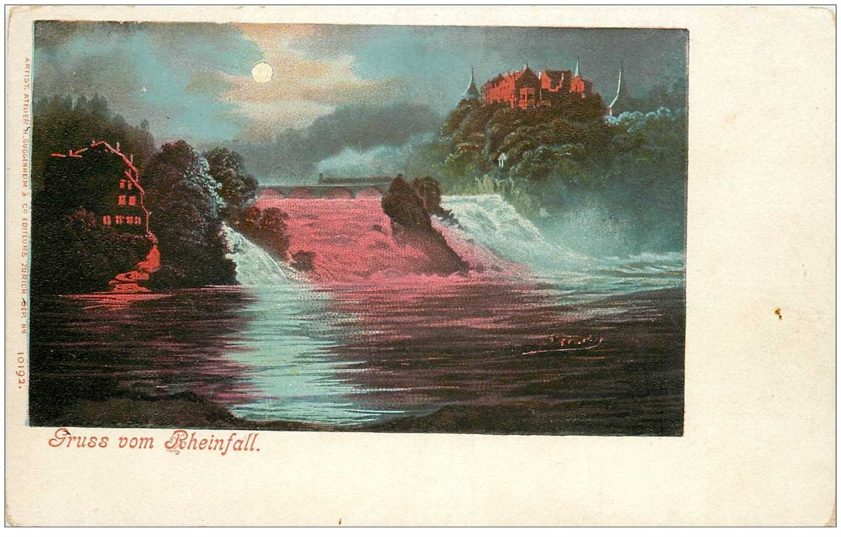 SUISSE. Gruss vom Rheinfall vers 1900