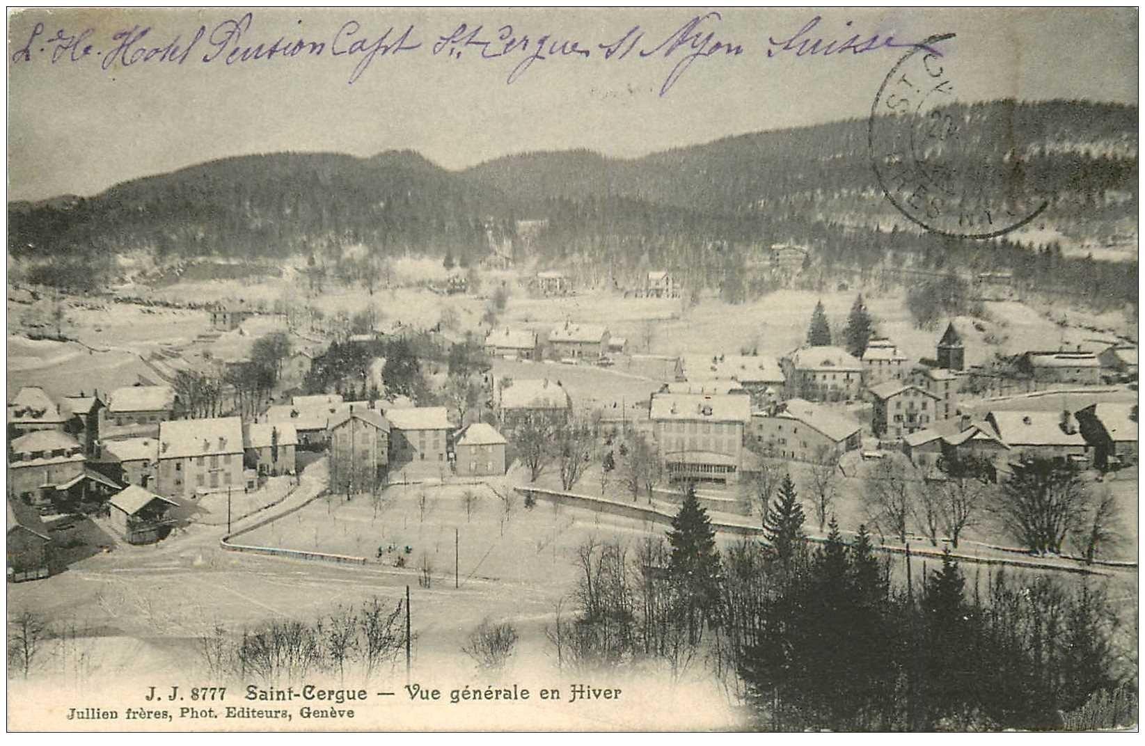 SUISSE. Saint Cergue vue en Hiver 1911