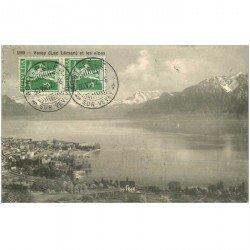 SUISSE. Vevey Lac Léman et les Alpes 1912