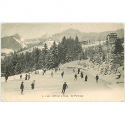 SUISSE. CAUX. Le Patinage en Hiver vers 1900
