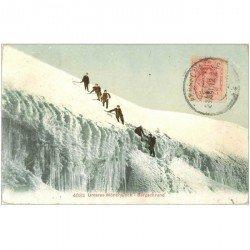 SUISSE. Unteres MÖnchsjoch Bergschrund 1912 Alpinistes Cordeurs