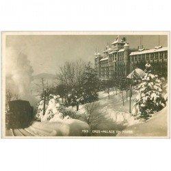 SUISSE. Caux Palace en Hiver avec Trai à vapeur 1933