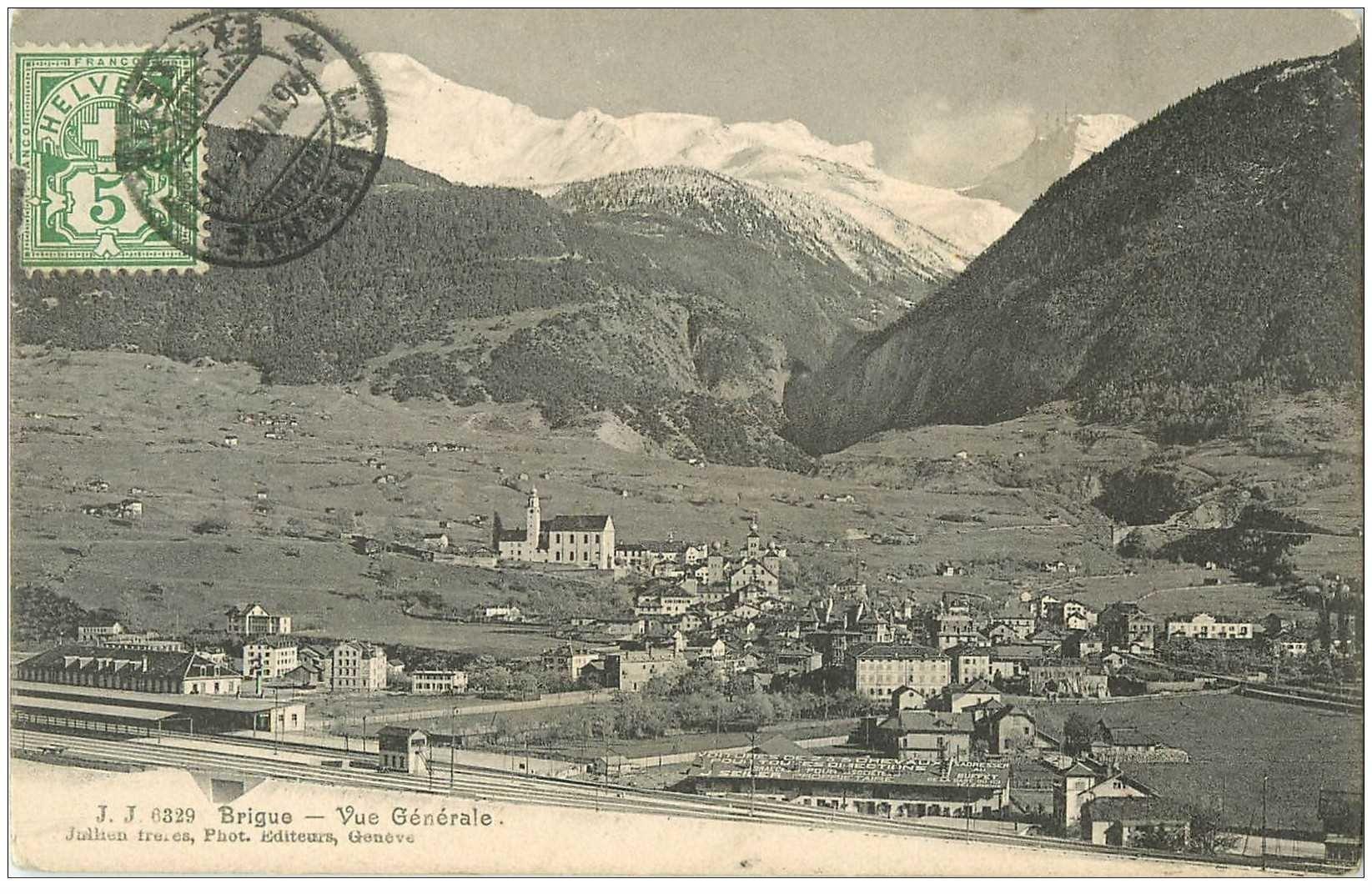 SUISSE. Brigue. Vue générale et la Gare 1907