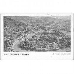SUISSE. Baden par le Chocolat Klaus. Découpe à la ficelle coin droit vers 1900