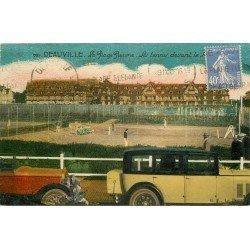 carte postale ancienne 14 DEAUVILLE. Voitures anciennes devant le Tennis 1930