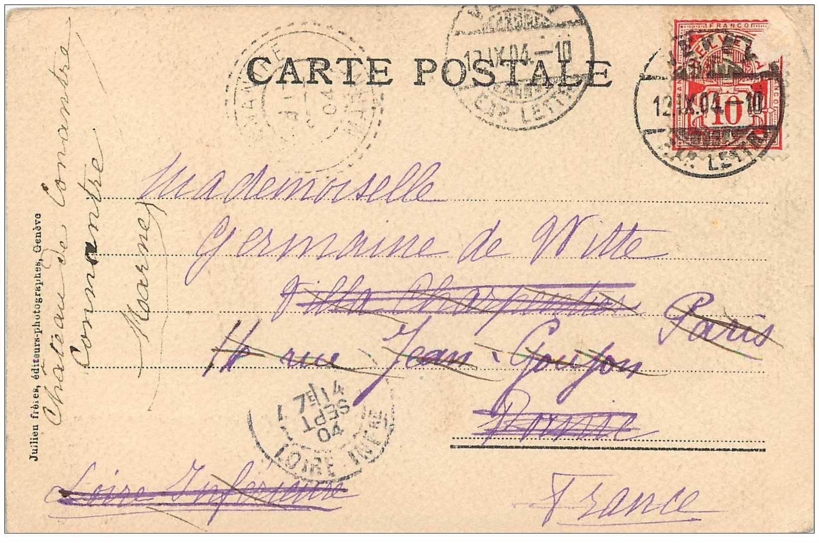 carte postale ancienne suisse chillon la dent du midi 1904 carte finement granul e. Black Bedroom Furniture Sets. Home Design Ideas