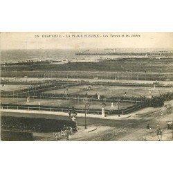 carte postale ancienne 14 DEAUVILLE. Plage Tennis et Jetées 1928