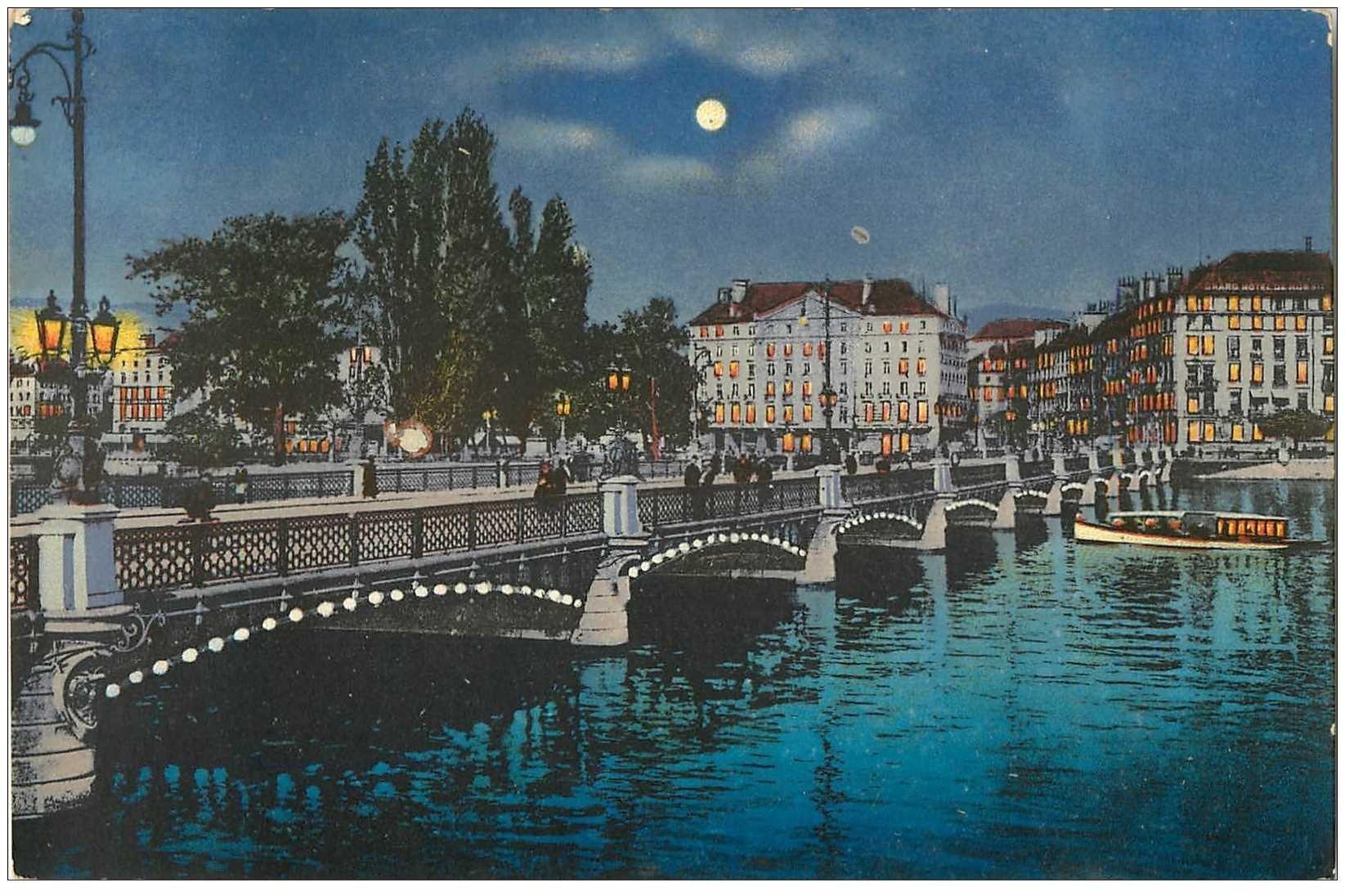 Carte postale ancienne SUISSE. Genève. Pont du Mont Blanc