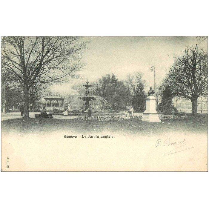 Carte postale ancienne suisse gen ve le jardin anglais 1903 for Jardins anglais celebres