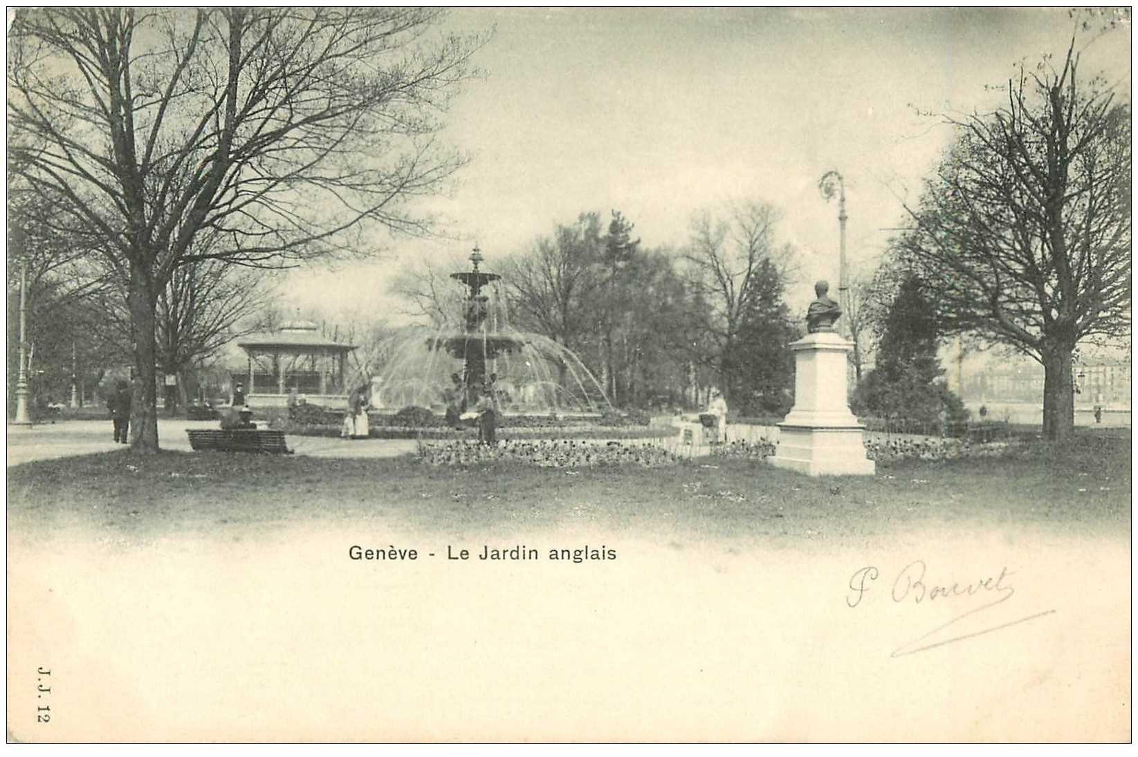 Carte postale ancienne suisse gen ve le jardin anglais 1903 for Le jardin geneve
