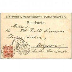 SUISSE. Carte postale entier publicitaire 1907 de Schaffhausen pour Avignon
