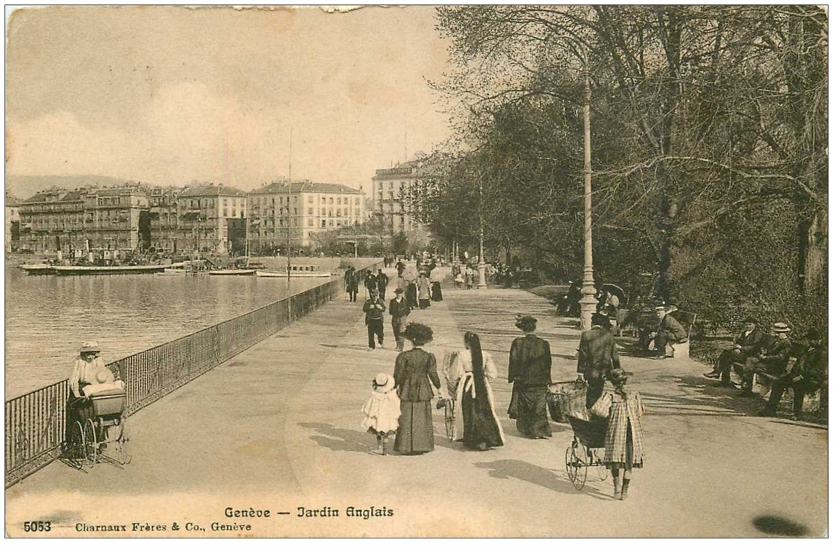 Carte postale ancienne suisse gen ve jardin anglais 1915 for Jardin anglais geneve suisse