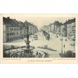 Suisse. Carte publicitaire BALE. La Rue Léopold Robert. Verso mécanisme montre Roskopf Patent Wille Schmid Henri Besson
