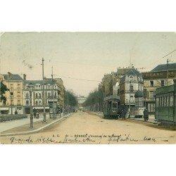 35 RENNES. Tramways et Vespasienne Avenue de la Gare 1909