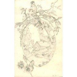 FANTAISIE. Superbe carte postale dessinée à la main un Paysage avec oiseaux et Chalet 1919