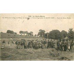 52 SAINT-BON. Elèves du Collège de Wassy excursion Ecole Agriculture. Essai râteau Martin 1920