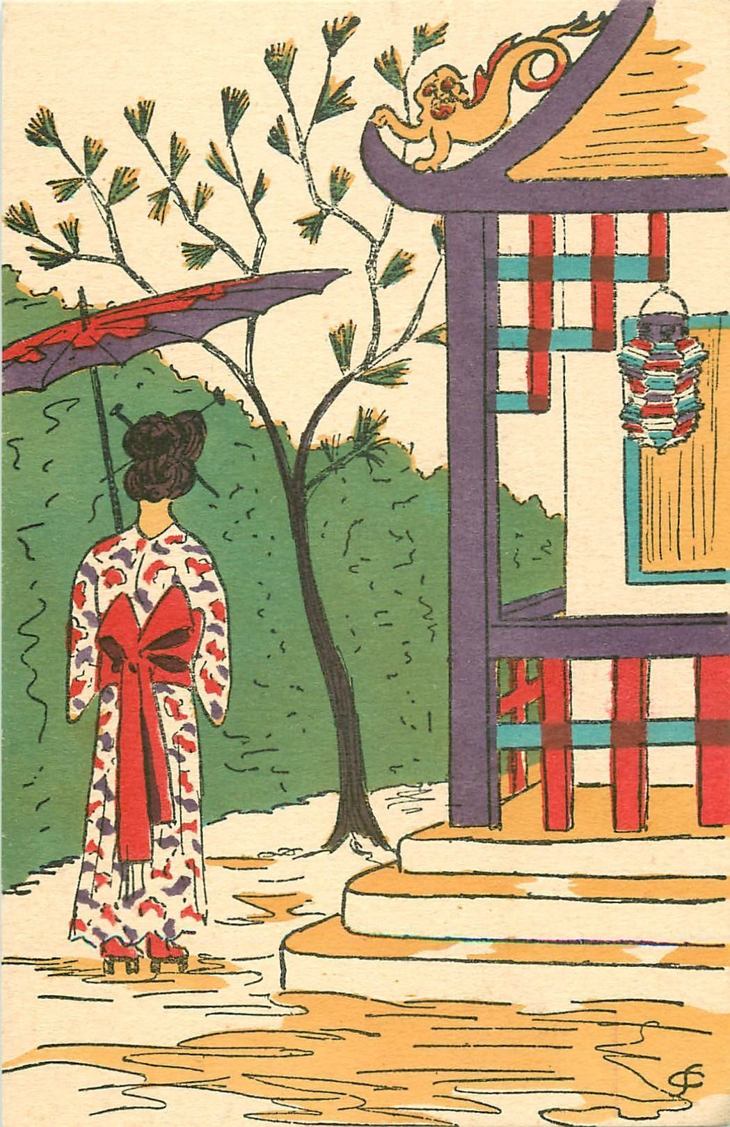 FANTAISIE. Une Geïsha dans un décor Japonais. Carte dîte peinte à la main...