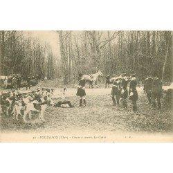 18 VOUZERON. Chasse à courre la Curée avec Chasseurs Sonneurs de cor et meute de Chiens 1907