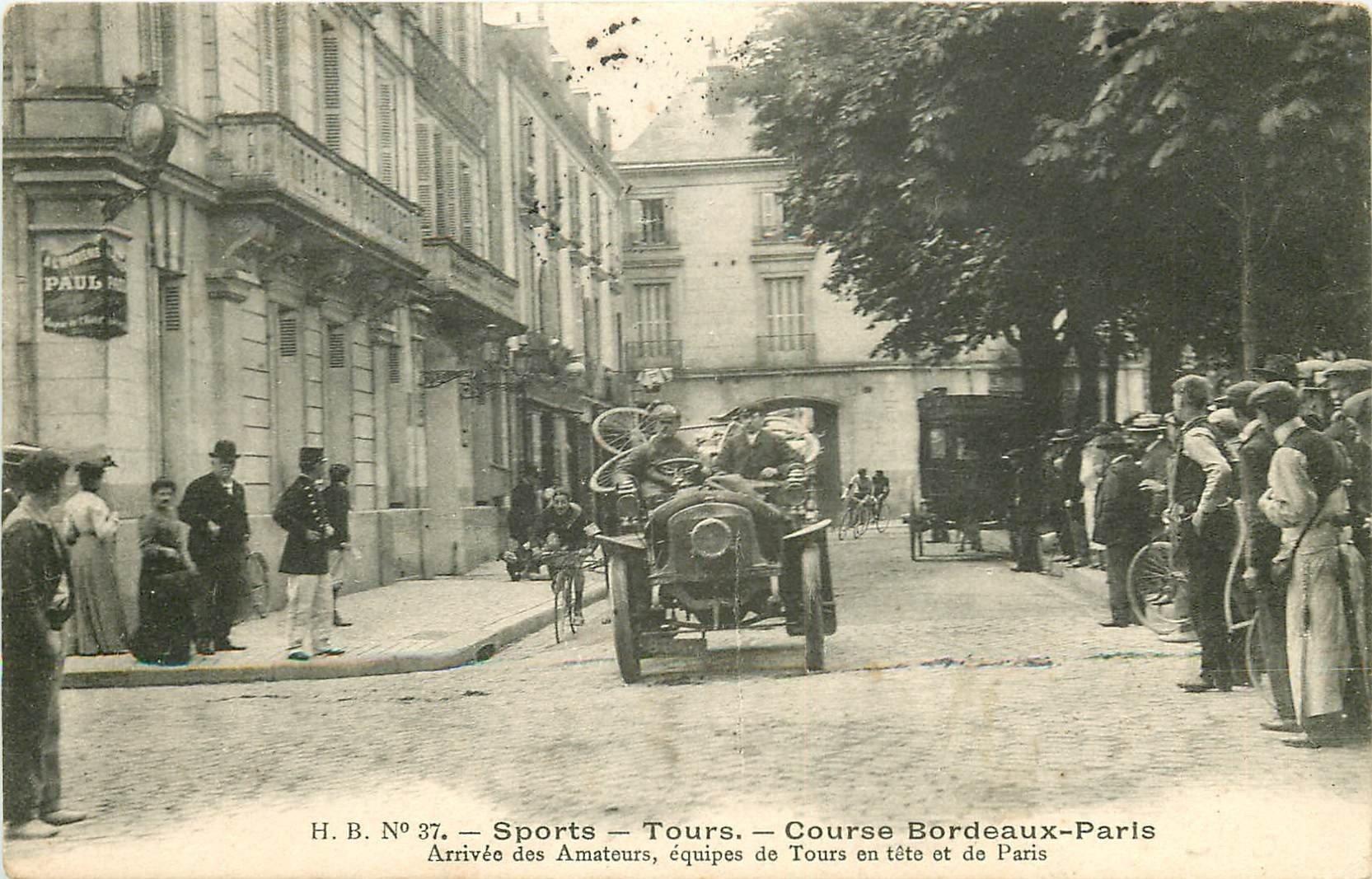 37 TOURS. Course automobiles Bordeaux Paris. Arrivée des Amateurs 1905 Sports