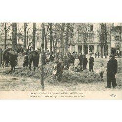 51 EPERNAY. Révolution en Champagne de 1911. Etat de siège des Cuirassiers sur le Jard