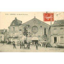 86 LOUDUN. Le Marché Sainte-Croix et la Boucherie Centrale 1914