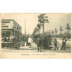93 SAINT-OUEN. Marché à la Ferraille Avenue Michelet devant Restaurant Aux Vendanges du Petit Bourgogne 1904