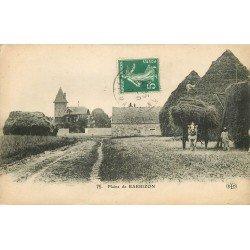 77 BARBIZON. La Récolte du Foin et la mise en Meule avec attelage 1909
