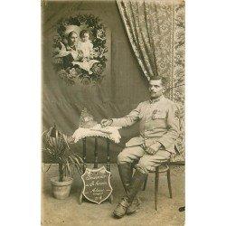 68 SAINT-AMARIN. Militaire du 116 Régiment écrivant et rêvant de sa Famille. Photo carte postale 1918