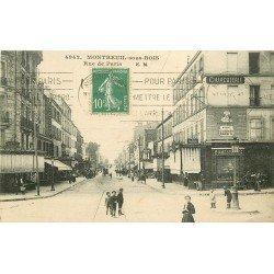 93 MONTREUIL-SOUS-BOIS. Café le Réveille Matin et Charcuterie Rue de Paris 1925