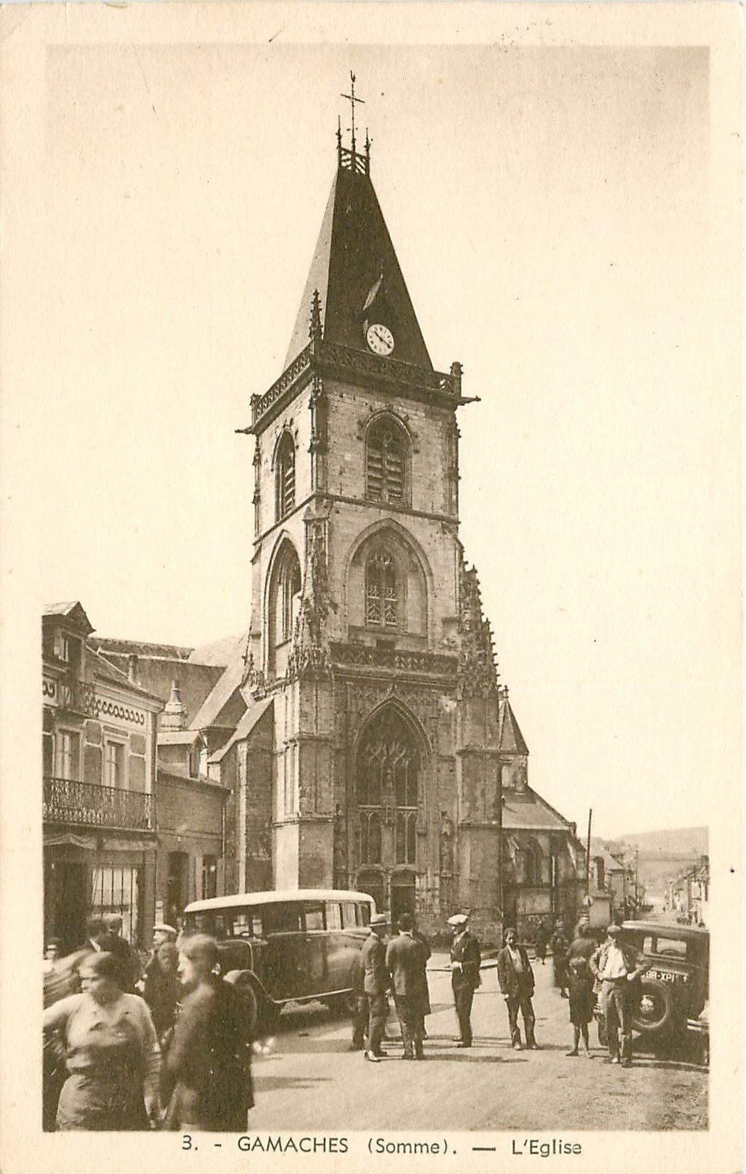 80 GAMACHES. Voiture car devant l'Eglise 1938