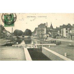 35 RENNES. Le Quai Saint-Cast avec Ecluse et Péniche 1913