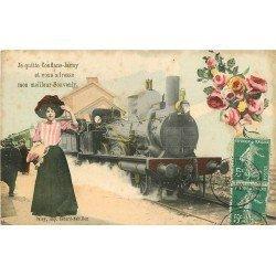 54 CONFLANS JARNY. Carte montage avec Locomotive à vapeur en Gare 1909