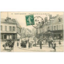 carte postale ancienne 02 SAINT-QUENTIN. Place Henri IV et rue St-Martin 1911. Fabrique de Chaussures Meunier