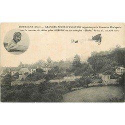 61 MORTAGNE. Grandes Fêtes d'Aviation avec Aubrun comme pilote sur monoplan Blériot en 1910
