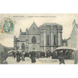 61 MORTAGNE. Le Marché face à l'Eglise Notre-Dame. Timbre taxe 1906
