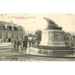 55 VERDUN-SUR-MEUSE. Le Monument et la Gare Meusienne 1917
