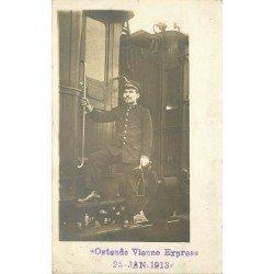 BELGIQUE. Un Employé des Wagons-Lits Train Ostende Vienne Express. Photo Cpa 1913