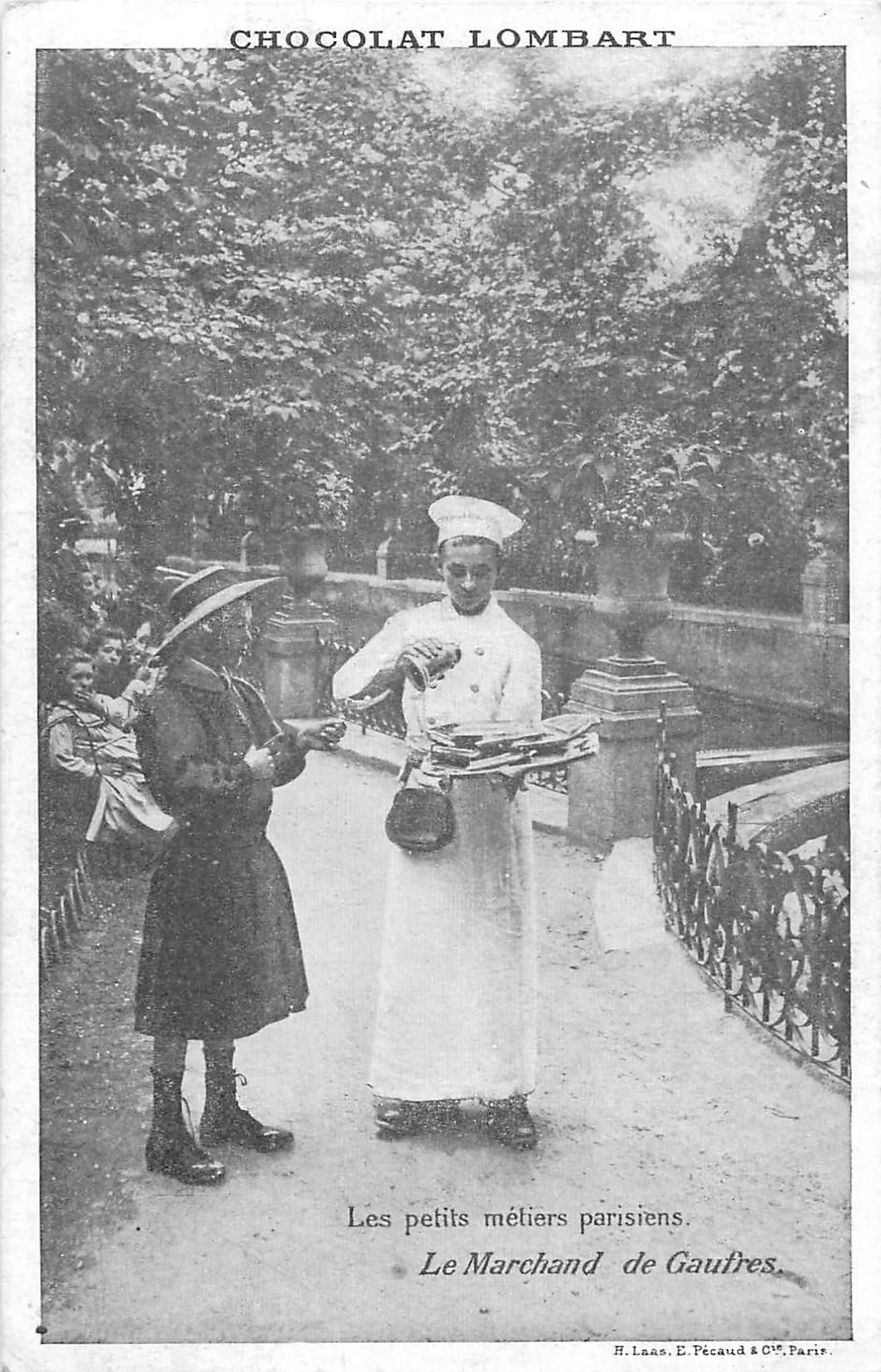 Série les petits Métiers parisiens. Le Marchand de Gaufres. Chocolat Lombard