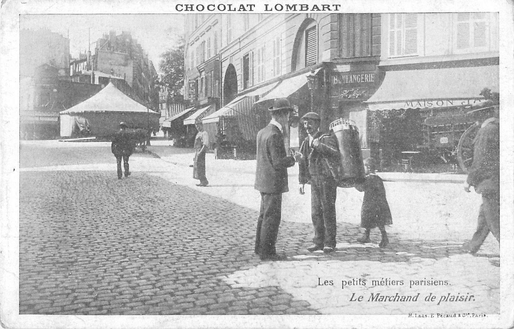 Série les petits Métiers parisiens. Le Marchand de plaisir. Chocolat Lombard