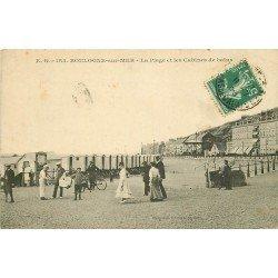 62 BOULOGNE-SUR-MER. Vendeur ambulant sur la Plage et les Cabines de bains 1908